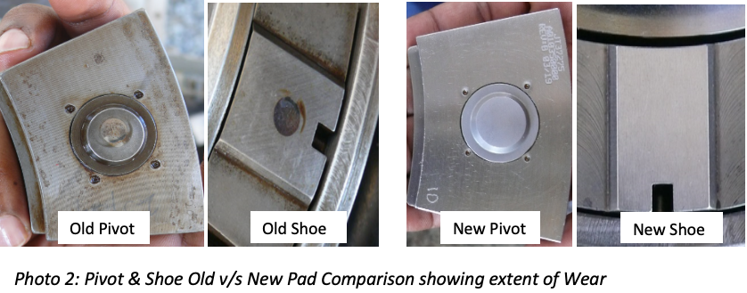 Photo 2: Pivot & Shoe Old v/s New Pad Comparison showing extent of Wear