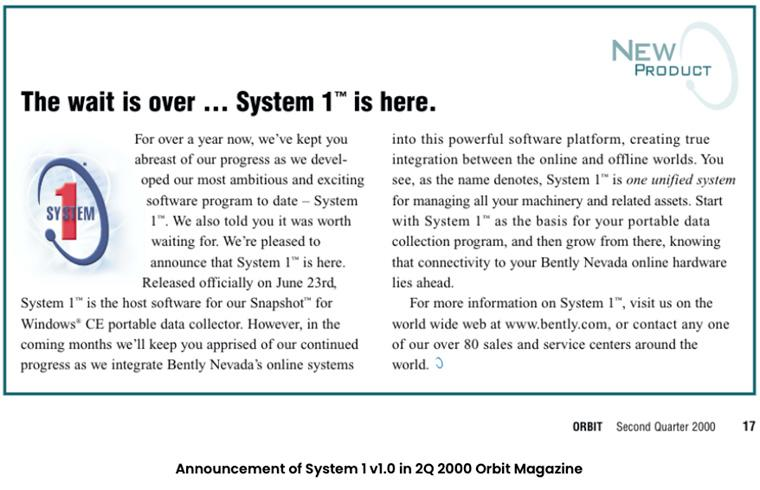 Announcement of System 1 v1.0 in 2Q 2000 Orbit Magazine