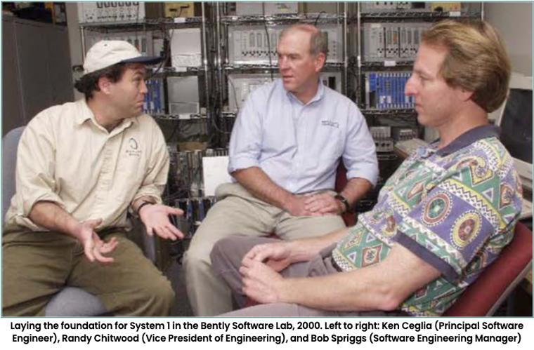Laying the foundation for System 1 in the Bently Software Lab, 2000. Left to right: Ken Ceglia (Principal Software Engineer), Randy Chitwood (Vice President of Engineering), and Bob Spriggs (Software Engineering Manager)