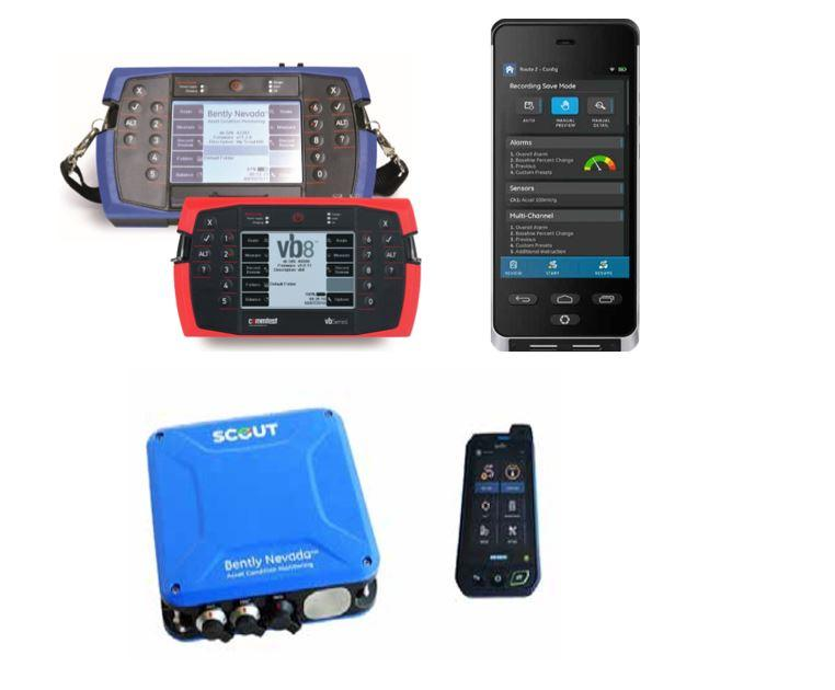 bently nevada portable data collectors, scout 100, scout 200, vbseries, vibration testers, vibration meters