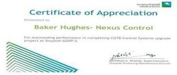 Certificate of appreciation - Nexus Controls and Aramco 3